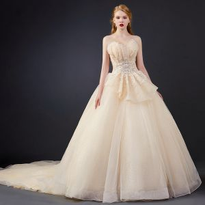 Luxury / Gorgeous Champagne Wedding Dresses 2020 Ball Gown Sweetheart Sleeveless Backless Glitter Tulle Appliques Lace Beading Chapel Train Ruffle