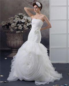Beading Ruffles Applique Strapless Floor Length Yarn Mermaid Wedding Dress