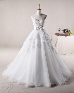 Applikasjon Beading Kjaereste Sløyfe Dekorasjon Organza En Linje Brudekjoler Bryllupskjoler