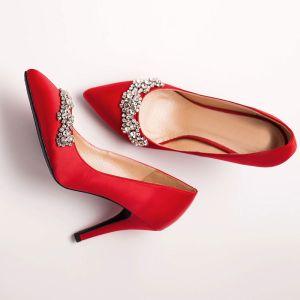 Poli Rouge Strass Cristal Mariée De Chaussures / Chaussures De Mariage / Chaussures Femme