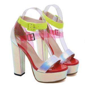 Fashion Multi-Colors Street Wear Womens Sandals 2020 Ankle Strap 13 cm Thick Heels Open / Peep Toe Sandals
