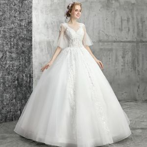 Elegant White Wedding Dresses 2019 Ball Gown Scoop Neck Beading Crystal Sequins Flower Lace 1/2 Sleeves Backless Floor-Length / Long