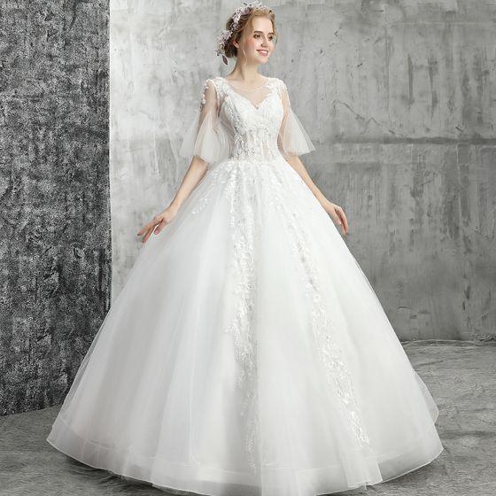 Elegant White Wedding Dresses 2019 Ball Gown Scoop Neck