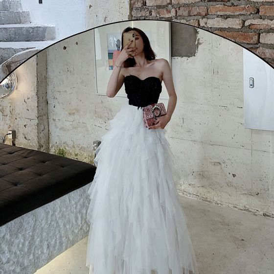 Two Tone Black White Evening Dresses  2020 A-Line / Princess Sweetheart Sleeveless Beading Floor-Length / Long Cascading Ruffles Backless Formal Dresses