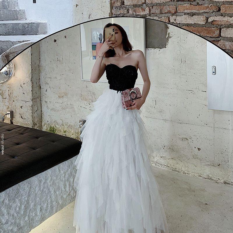 Two Tone Black White Evening Dresses  2020 A-Line / Princess Sweetheart Sleeveless Beading Floor-Length / Long Cascading Ruffles Backless Formal Dresses