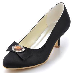 Chaussures Tete Chaussures Satin Simple De Mariage De Diamant De Decoration Noeud De Fete