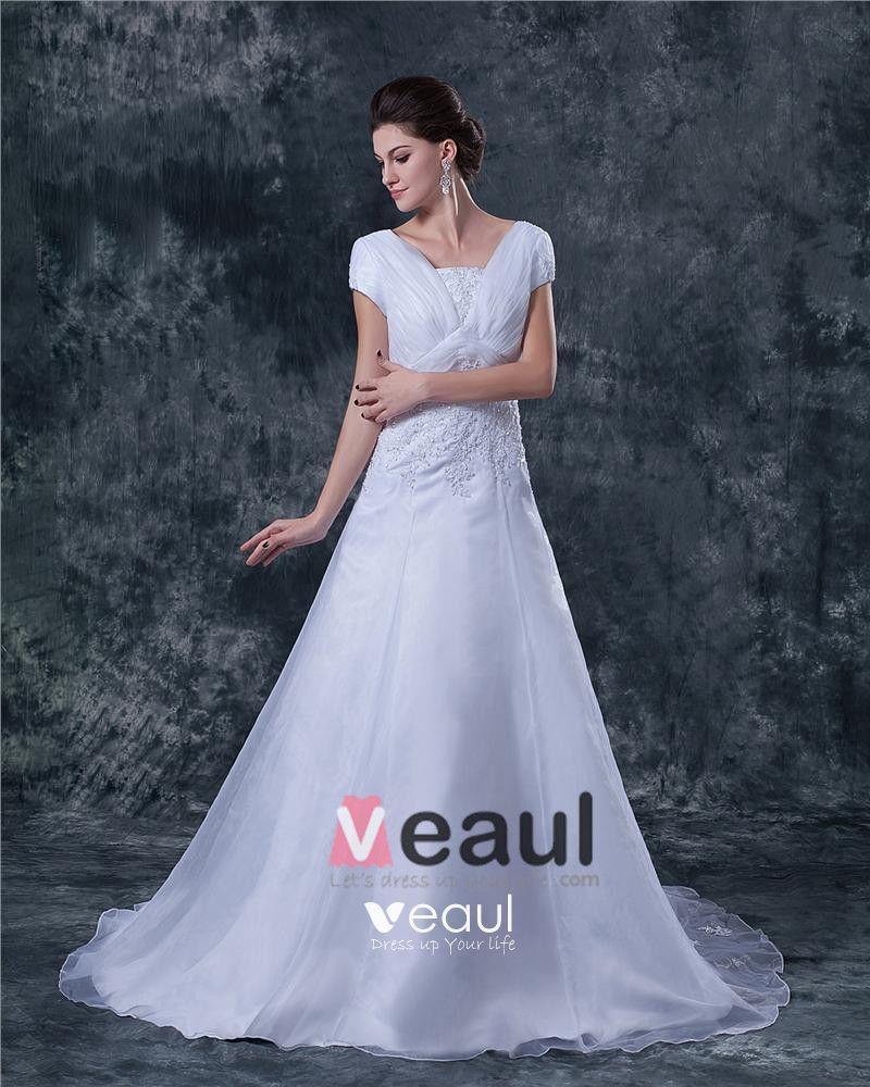 Beaded Applique Satin Tulle Shoulder Straps Chapel A-line Bridal Gown Wedding Dress