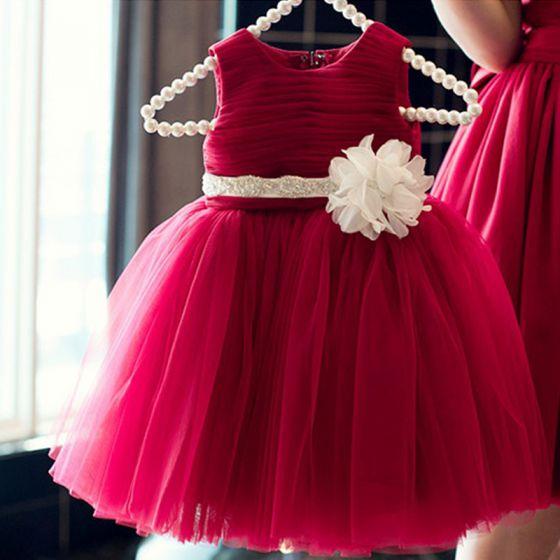 Chic / Beautiful Red Birthday Flower Girl Dresses 2020 Ball Gown Scoop Neck Sleeveless Flower Sash Short Ruffle Wedding Party Dresses