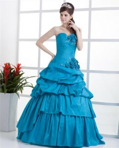 Ball Gown Sleeveless Flowers Embroidery Ruffles Applique One Shoulder Floor Length Quinceanera Prom Dresses