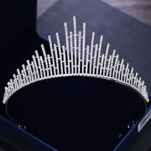 Modest / Simple Silver Rhinestone Tiara 2018 Metal Accessories