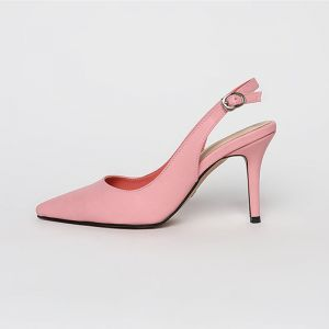 Modest / Simple Champagne Casual Slingbacks Womens Sandals 2020 8 cm Stiletto Heels Pointed Toe Sandals
