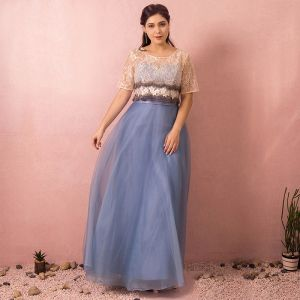Chic / Beautiful Sky Blue Plus Size Evening Dresses  2018 A-Line / Princess U-Neck Tulle Appliques Backless Beading Evening Party Prom Dresses