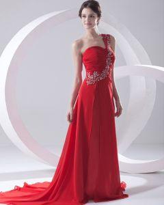 Fashion Chiffon Pleated Applique One Shoulder Sleeveless Floor Length Evening Dress