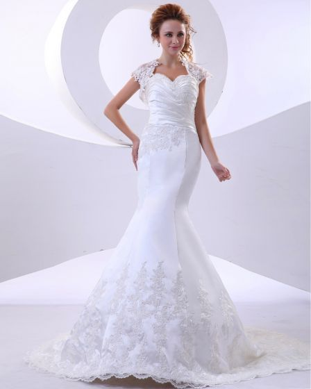 Lace Satin Applique Sweetheart Cathedral Train Sheath Wedding Dresses