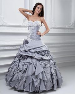Ball Gown Sweetheart Ruffle Beading Taffeta Floor Length Quinceanera Prom Dress