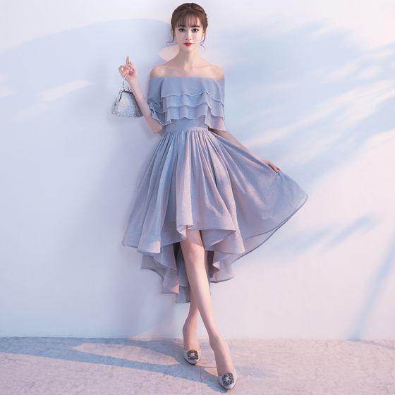 Glitter Sølv Cocktailkjoler 2017 Off-The-Shoulder Flæse Asymmetrisk Kjoler