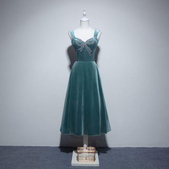 Uroczy Jade Zielony Homecoming Sukienki Na Studniówke 2019 Princessa Kwadratowy Dekolt Zamszowe Frezowanie Kryształ Rhinestone Bez Rękawów Bez Pleców Długość Herbaty Sukienki Wizytowe