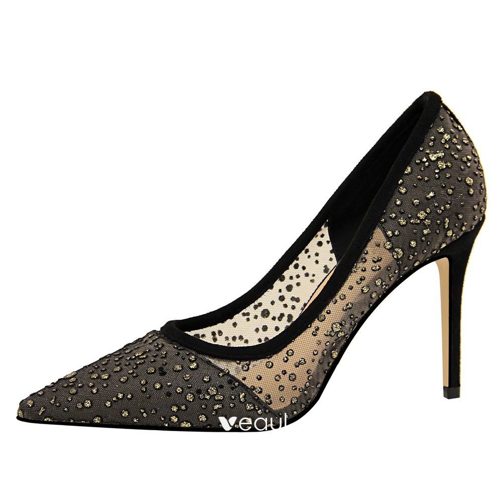 Chic / Beautiful Black Evening Party Pumps 2019 Rhinestone 9 cm Stiletto Heels Pointed Toe Pumps