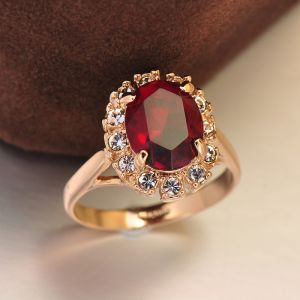 Luxury / Gorgeous Burgundy Crystal Rhinestone Lucky Faith Ring Alloy Pageant Rings 2019 Accessories