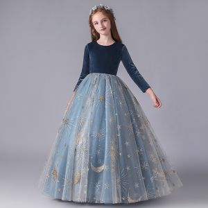 Chic / Beautiful Ink Blue Suede Winter Birthday Flower Girl Dresses 2020 Ball Gown Scoop Neck 3/4 Sleeve Appliques Star Sequins Floor-Length / Long Ruffle