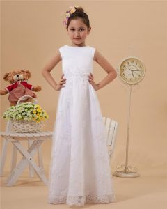 Satin Lace Ruffle Round Neck Floor Length Flower Girl Dresses
