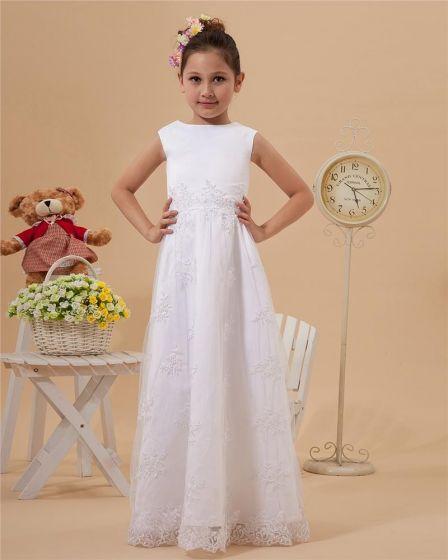 Satin Lace Ruffle Round Neck Floor Length Flower Girl Dresses