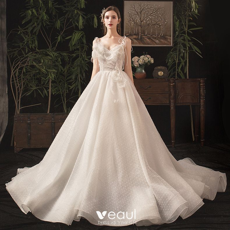Charming Ivory Wedding Dresses 2019 A-Line / Princess Spaghetti Straps Bow Beading Lace Sleeveless Backless Chapel Train