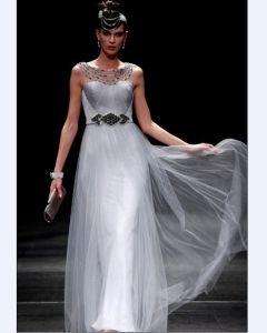 Empire Off-The-Shoulder Sleeveless Floor Length Bead Chiffon Satin evening Dresses