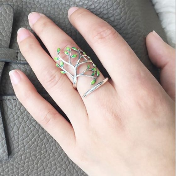 Classic Elegant Silver Leaf Peace Faith Ring Sterling Silver Work Holiday Rings 2019 Accessories