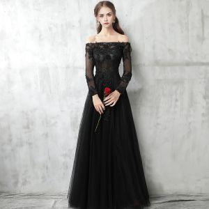 Chic / Belle Noire Robe De Soirée 2017 Princesse De l'épaule Manches Longues Appliques En Dentelle Perle Longue Percé Dos Nu Robe De Ceremonie