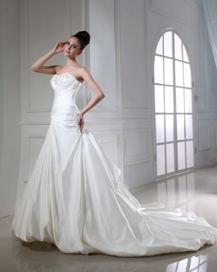 Taffetas Perles Ruffle Applique Chapelle A-ligne Bretelles Robe De Mariage Nuptiale Robe