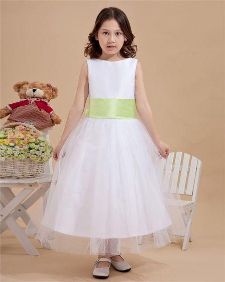 Elegant A-Line Jewel Gauze Ankle-length Wedding Flower Girls Dress