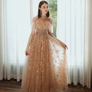 Fashion Champagne Star Lace Prom Dresses 2020 A-Line / Princess Scoop Neck Beading Sequins Flower Short Sleeve Backless Floor-Length / Long Formal Dresses