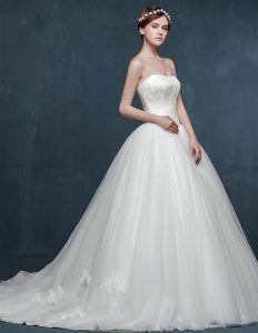 Eenvoudige Winter Bridal Of Zwangere Vrouwen Lange Slepende Bladerdeeg-jurk / Trouwjurk