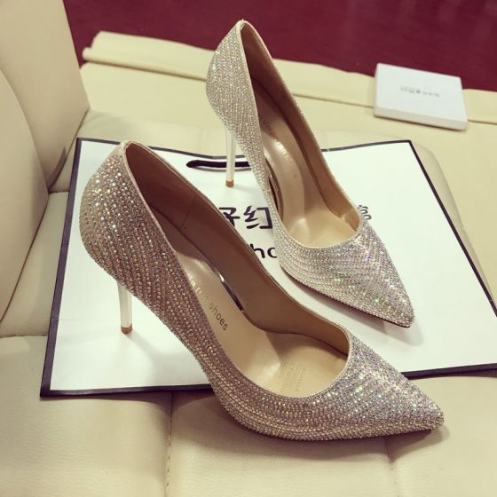Modern / Fashion Gold Evening Party Pumps 2019 Rhinestone 9 cm Stiletto Heels Pointed Toe Pumps