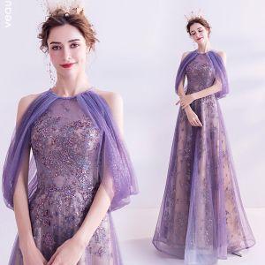 Charmant Lavendel Abendkleider 2020 A Linie Rundhalsausschnitt Glanz Perlenstickerei Pailletten Kristall Ärmellos Rückenfreies Lange Festliche Kleider