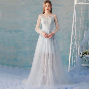 Elegant Sky Blue Summer Evening Dresses  2018 A-Line / Princess Lace Flower Beading Scoop Neck Backless Long Sleeve Sweep Train Formal Dresses