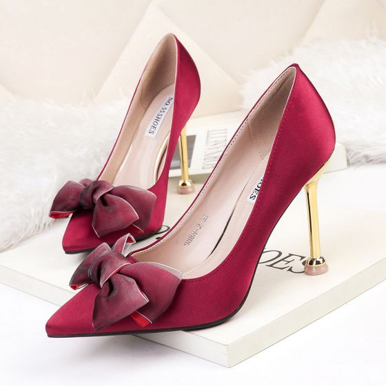 Modest / Simple Burgundy OL Pumps 2020 Office Satin Bow 9 cm Stiletto Heels Pointed Toe Pumps