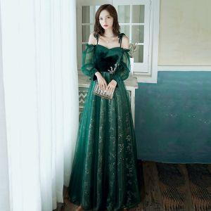 Élégant Vert Foncé Robe De Soirée 2020 Princesse De l'épaule Gonflée Manches Longues Glitter Paillettes Tulle Longue Volants Dos Nu Robe De Ceremonie