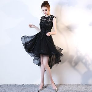 Chic / Beautiful Black Cocktail Dresses 2017 A-Line / Princess Scoop Neck Sleeveless Appliques Flower Asymmetrical Cascading Ruffles Formal Dresses