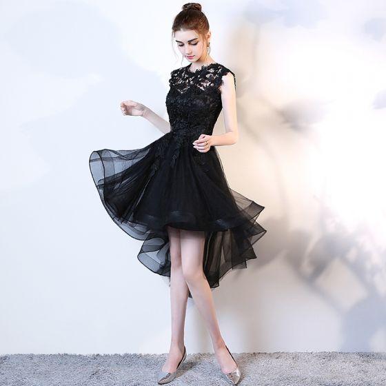 Chic / Beautiful Black Cocktail Dresses 2017 A-Line / Princess Scoop Neck Sleeveless Appliques Flower Asymmetrical Cascading Ruffles Formal Dresses