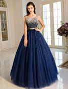 Vintage Royal Blue Galajurk 2017 Vloerlengte Ruglooze Baljurk Met Sjerp