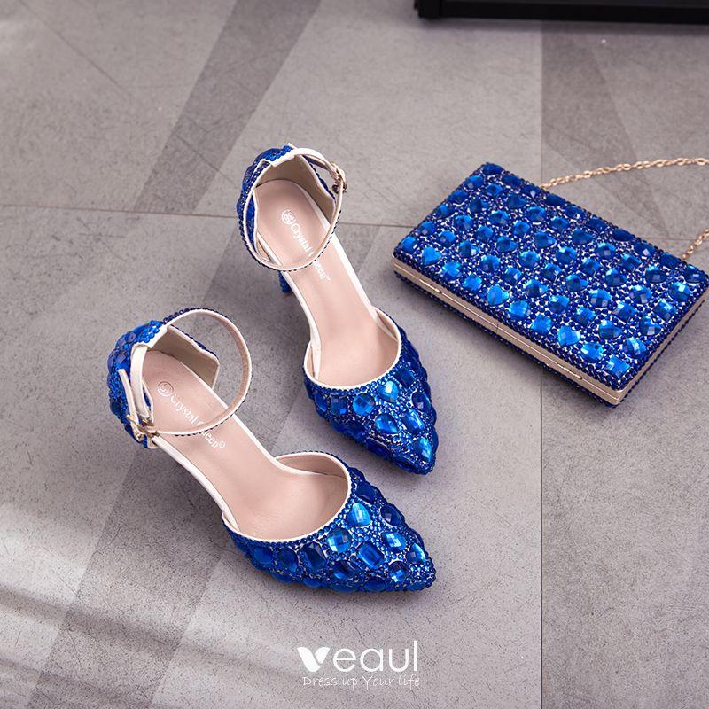 Charmant Bleu Roi Soirée Chaussures Femmes 2018 Cristal Faux