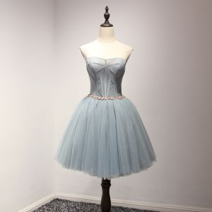 Modern / Fashion Grey Pool Blue Cocktail Dresses 2017 Cascading Ruffles Short Ball Gown Sweetheart Sleeveless Backless Crystal Sash Formal Dresses