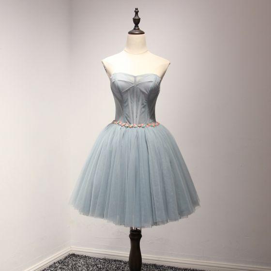 Modern / Fashion Grey Pool Blue Cocktail Dresses 2017 Cascading Ruffles Short Ball Gown Sweetheart Sleeveless Backless Crystal Sash Formal Dresses