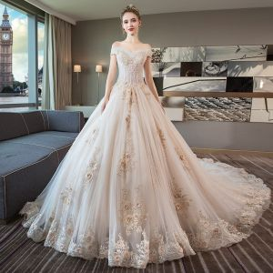 Luxury / Gorgeous Ivory Wedding Dresses 2019 A-Line / Princess Off-The-Shoulder Short Sleeve Backless Appliques Lace Beading Cathedral Train Ruffle