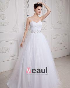 Organza Applikasjon Kjaereste Beading Kapell Ball Kjole Brudekjoler Bryllupskjoler