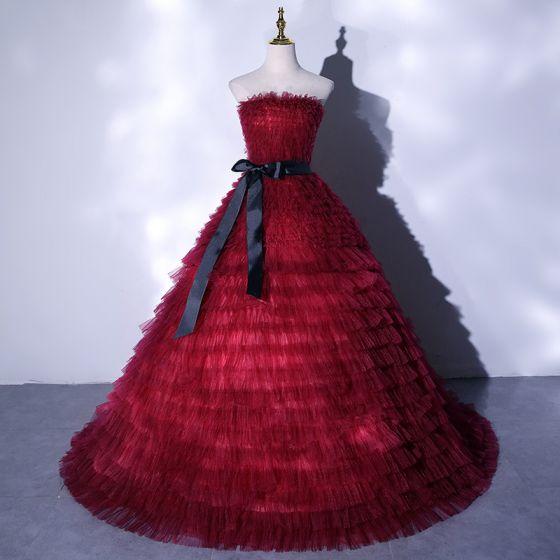 Fashion Burgundy Ruffle Prom Dresses 2021 Ball Gown Strapless Bow Sleeveless Backless Floor-Length / Long Formal Dresses