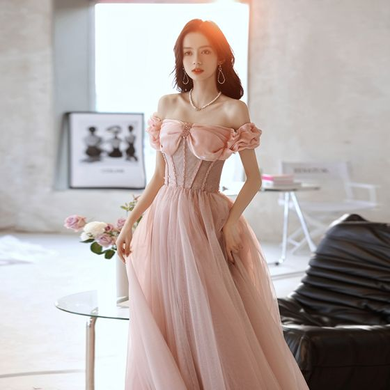 Charming Blushing Pink Prom Dresses 2021 A-Line / Princess Off-The-Shoulder Sleeveless Backless Crystal Floor-Length / Long Prom Formal Dresses