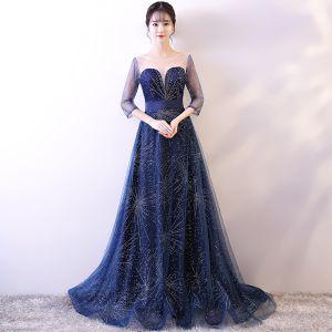 Piękne Granatowe Gwiaździste Niebo Sukienki Wieczorowe 2018 Princessa Wycięciem 3/4 Rękawy Rhinestone Szarfa Trenem Sweep Bez Pleców Przebili Sukienki Wizytowe
